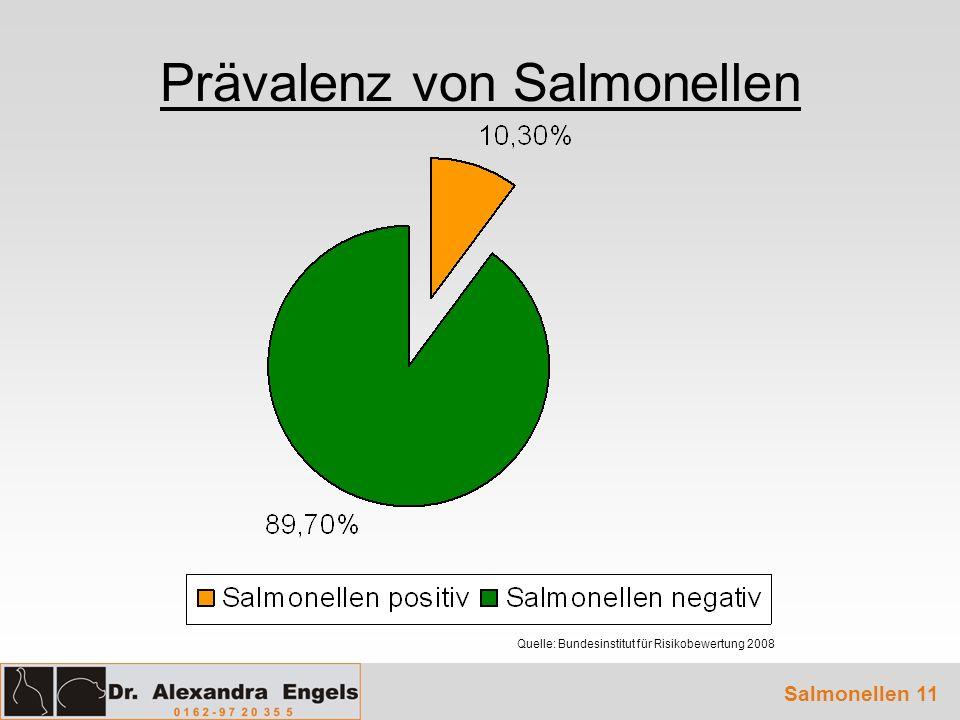 Prävalenz von Salmonellen Salmonellen 11 Quelle: Bundesinstitut für Risikobewertung 2008