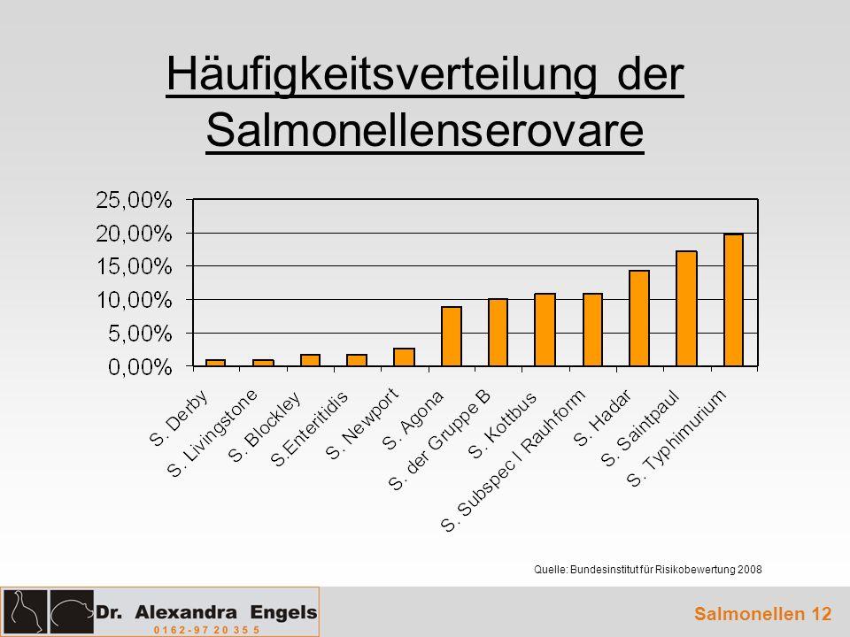 Häufigkeitsverteilung der Salmonellenserovare Salmonellen 12 Quelle: Bundesinstitut für Risikobewertung 2008