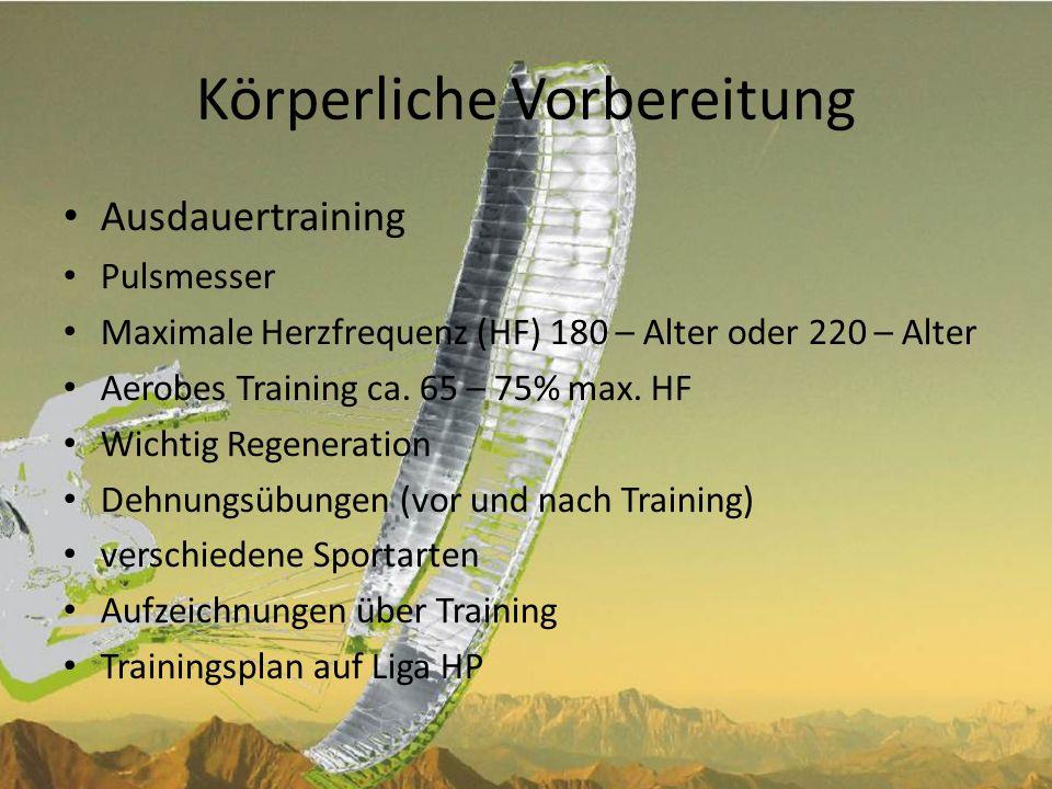 Körperliche Vorbereitung Krafttraining – Beinmuskulatur (Speed-System) – Schultermuskulatur (Steuerleinen) – Rücken- und Bauchmuskulatur (Sitzposition) Ernährung – Trinken (min.