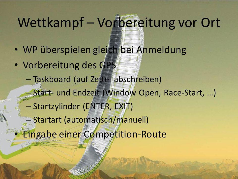 Wettkampf - Startcheck Erweiterter Startcheck – GPS eingeschalten.