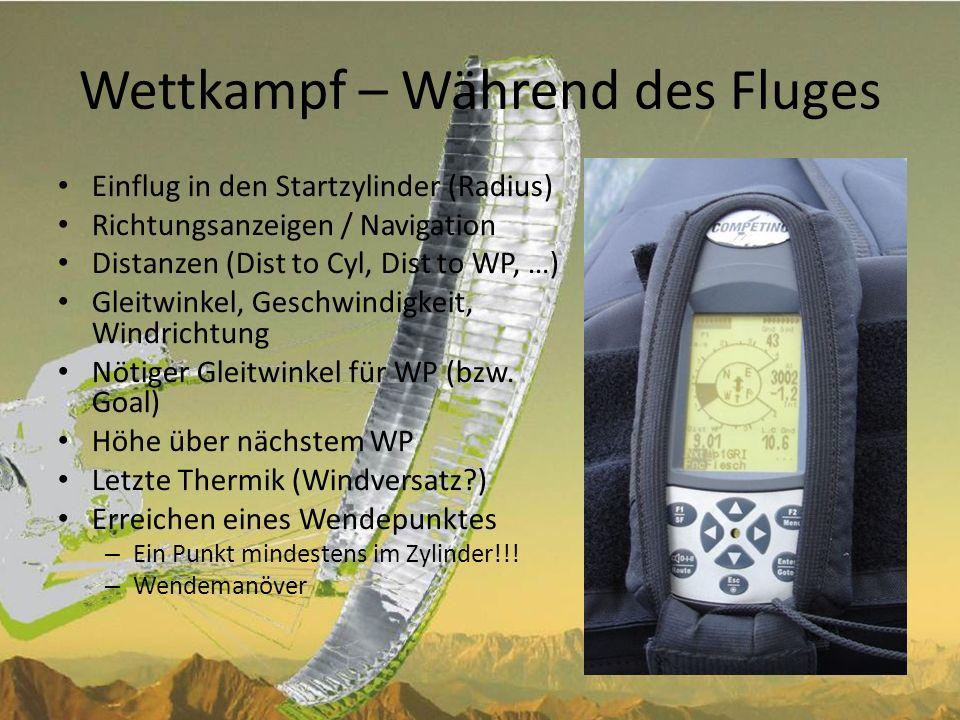 Wettkampf - Endanflug Nötiger Gleitwinkel bis ins Ziel (über mehrere WP) – Req.
