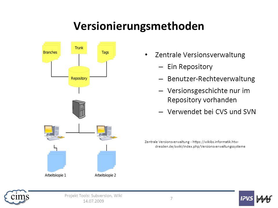 Projekt Tools: Subversion, Wiki 14.07.2009 7 cims Versionierungsmethoden Zentrale Versionsverwaltung – Ein Repository – Benutzer-Rechteverwaltung – Ve