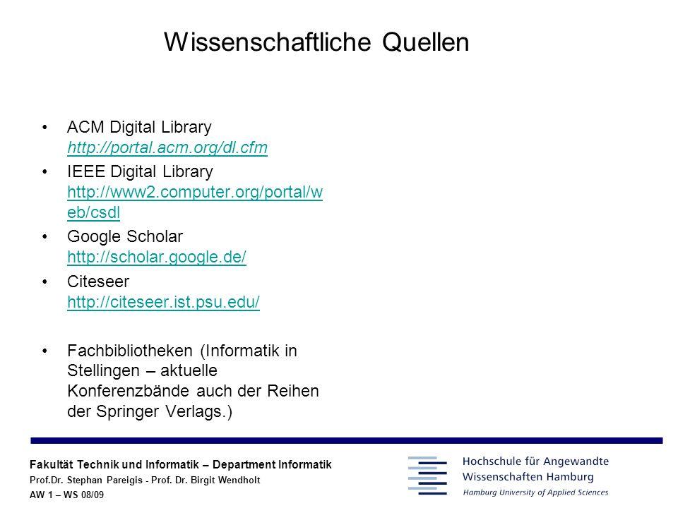 Fakultät Technik und Informatik – Department Informatik Prof.Dr.