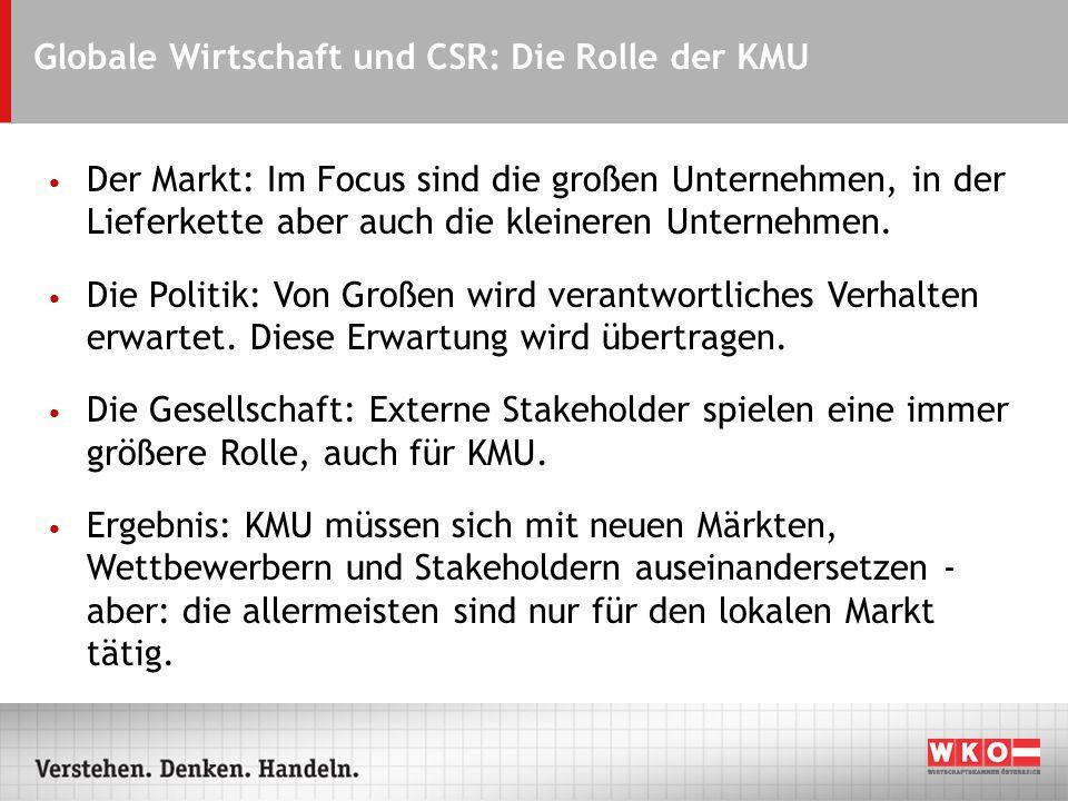 Globale Wirtschaft und CSR: Die Rolle der KMU Der Markt: Im Focus sind die großen Unternehmen, in der Lieferkette aber auch die kleineren Unternehmen.