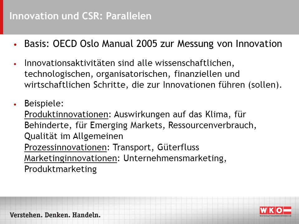 Innovation und CSR: Parallelen Basis: OECD Oslo Manual 2005 zur Messung von Innovation Innovationsaktivitäten sind alle wissenschaftlichen, technologischen, organisatorischen, finanziellen und wirtschaftlichen Schritte, die zur Innovationen führen (sollen).