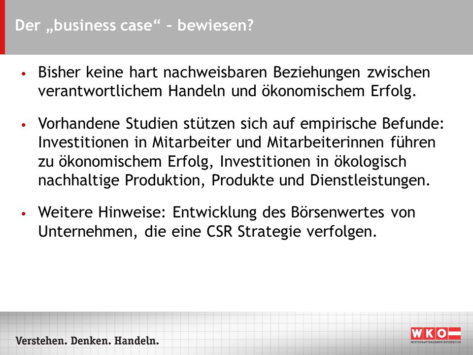 Der business case – bewiesen.