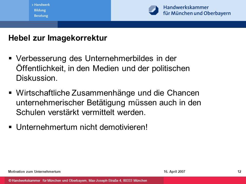 © Handwerkskammer für München und Oberbayern, Max-Joseph-Straße 4, 80333 München 16. April 2007Motivation zum Unternehmertum12 Hebel zur Imagekorrektu