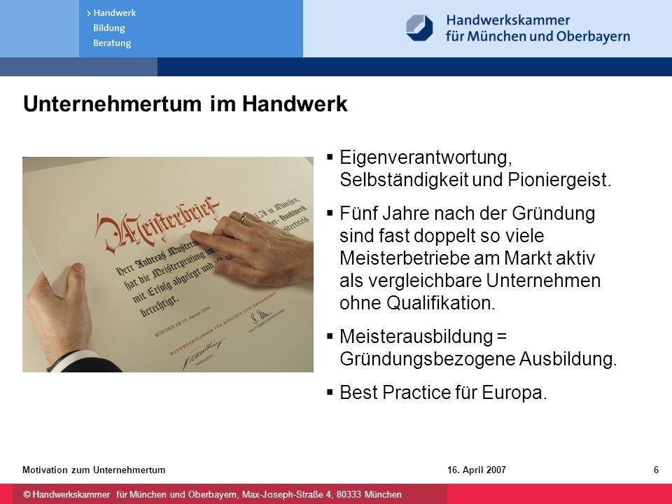 © Handwerkskammer für München und Oberbayern, Max-Joseph-Straße 4, 80333 München 16. April 2007Motivation zum Unternehmertum6 Unternehmertum im Handwe