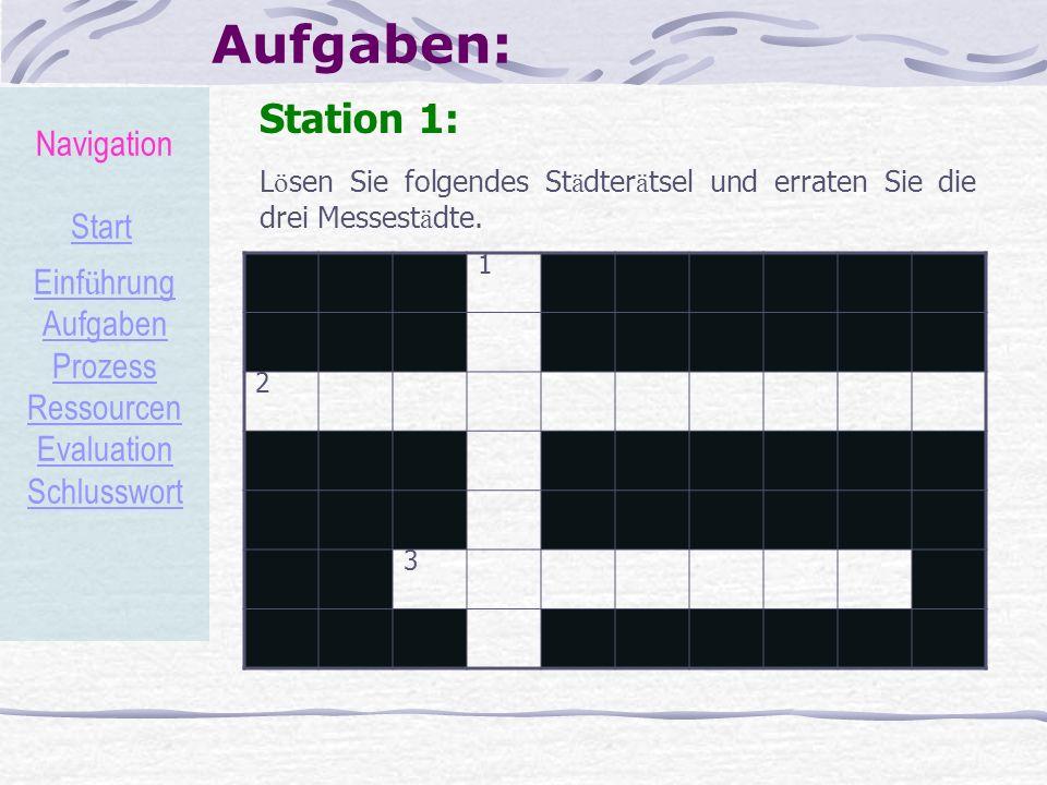 Aufgaben: Station 1: L ö sen Sie folgendes St ä dter ä tsel und erraten Sie die drei Messest ä dte. 1 2 3 Navigation Start Einf ü hrung Aufgaben Proze