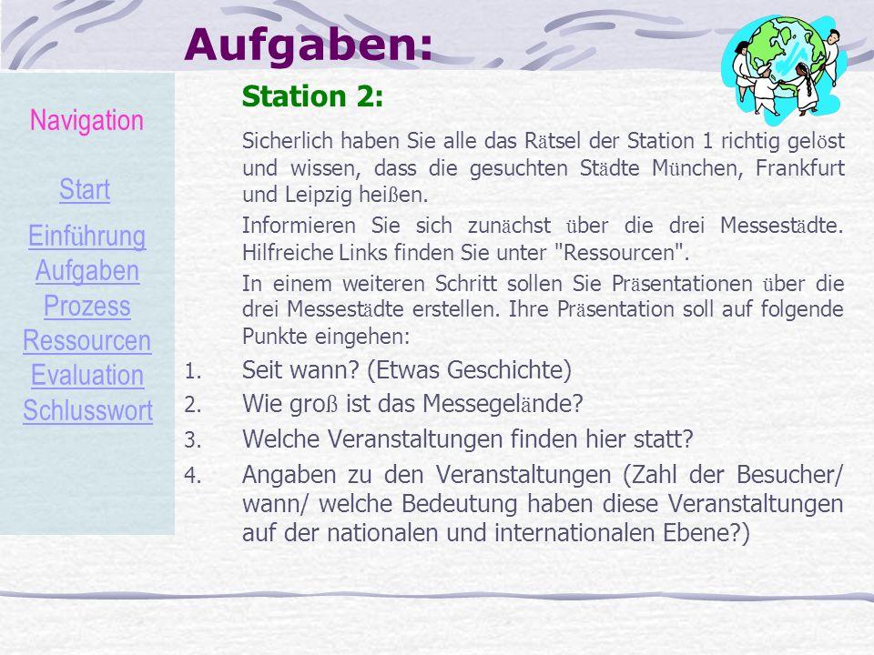 Aufgaben: Station 2: Sicherlich haben Sie alle das R ä tsel der Station 1 richtig gel ö st und wissen, dass die gesuchten St ä dte M ü nchen, Frankfur