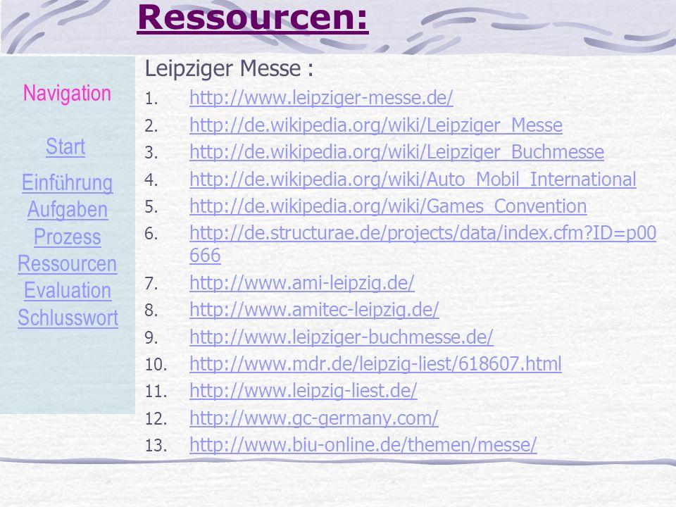 Ressourcen: Leipziger Messe : 1. http://www.leipziger-messe.de/ http://www.leipziger-messe.de/ 2. http://de.wikipedia.org/wiki/Leipziger_Messe http://