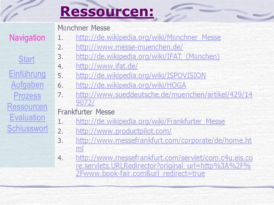 Ressourcen: M ü nchner Messe 1. http://de.wikipedia.org/wiki/M ü nchner_Messe http://de.wikipedia.org/wiki/M ü nchner_Messe 2. http://www.messe-muench