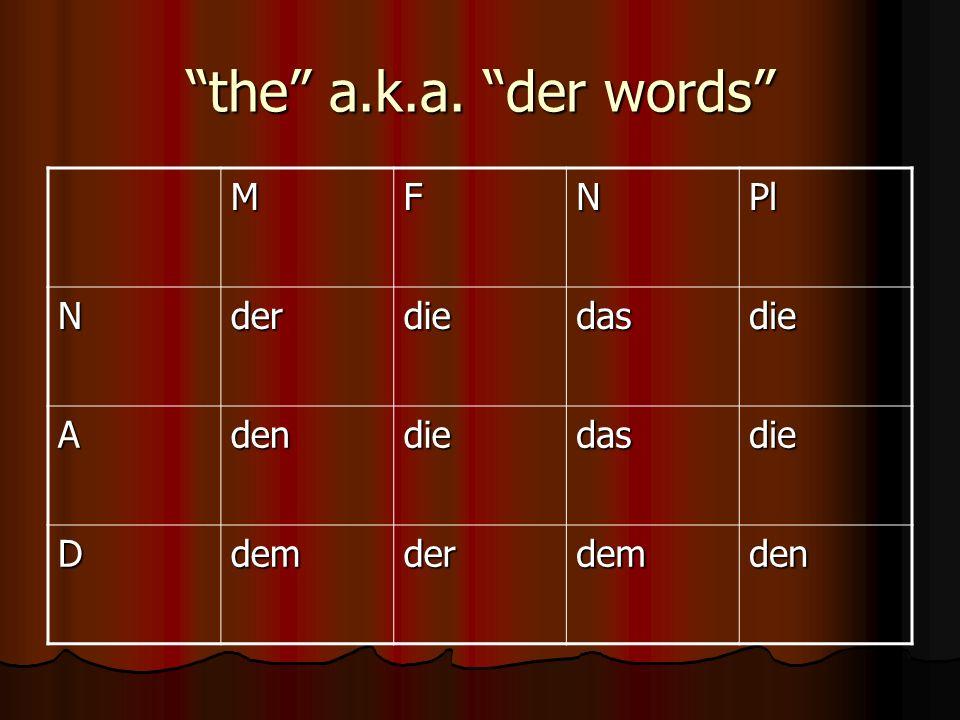the a.k.a. der words MFNPl Nderdiedasdie Adendiedasdie Ddemderdemden