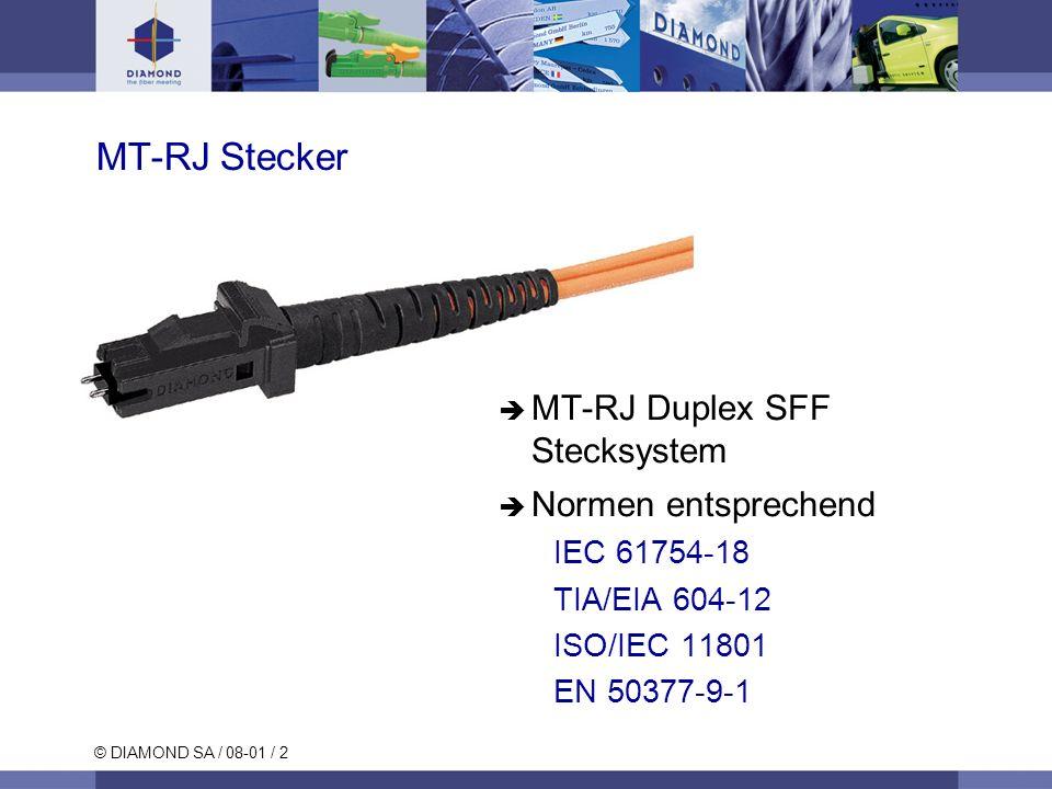 © DIAMOND SA / 08-01 / 2 MT-RJ Stecker MT-RJ Duplex SFF Stecksystem Normen entsprechend IEC 61754-18 TIA/EIA 604-12 ISO/IEC 11801 EN 50377-9-1