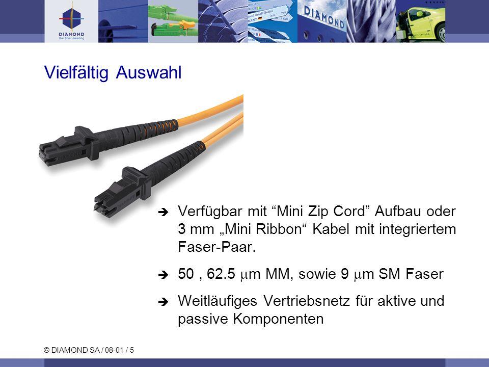 © DIAMOND SA / 08-01 / 5 Vielfältig Auswahl Verfügbar mit Mini Zip Cord Aufbau oder 3 mm Mini Ribbon Kabel mit integriertem Faser-Paar. 50, 62.5 m MM,