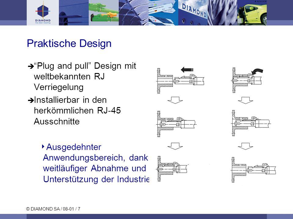 © DIAMOND SA / 08-01 / 7 Praktische Design Plug and pull Design mit weltbekannten RJ Verriegelung Installierbar in den herkömmlichen RJ-45 Ausschnitte Ausgedehnter Anwendungsbereich, dank weitläufiger Abnahme und Unterstützung der Industrie