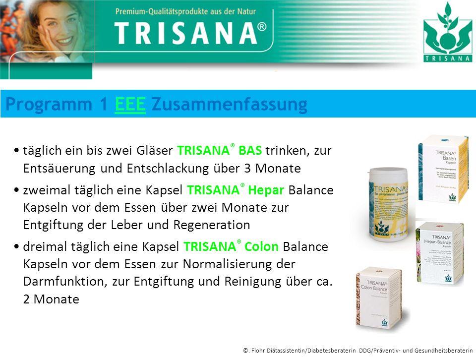 täglich ein bis zwei Gläser TRISANA ® BAS trinken, zur Entsäuerung und Entschlackung über 3 Monate zweimal täglich eine Kapsel TRISANA ® Hepar Balance