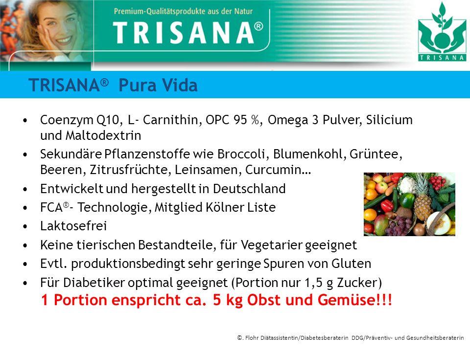 TRISANA ® Pura Vida Coenzym Q10, L- Carnithin, OPC 95 %, Omega 3 Pulver, Silicium und Maltodextrin Sekundäre Pflanzenstoffe wie Broccoli, Blumenkohl,