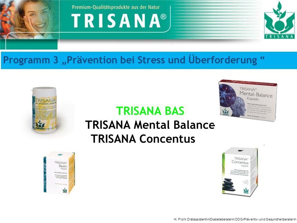 Programm 3 Prävention bei Stress und Überforderung H. Flohr Diätassistentin/Diabeteberaterin DDG/Präventiv- und Gesundheitberaterin TRISANA BAS TRISAN