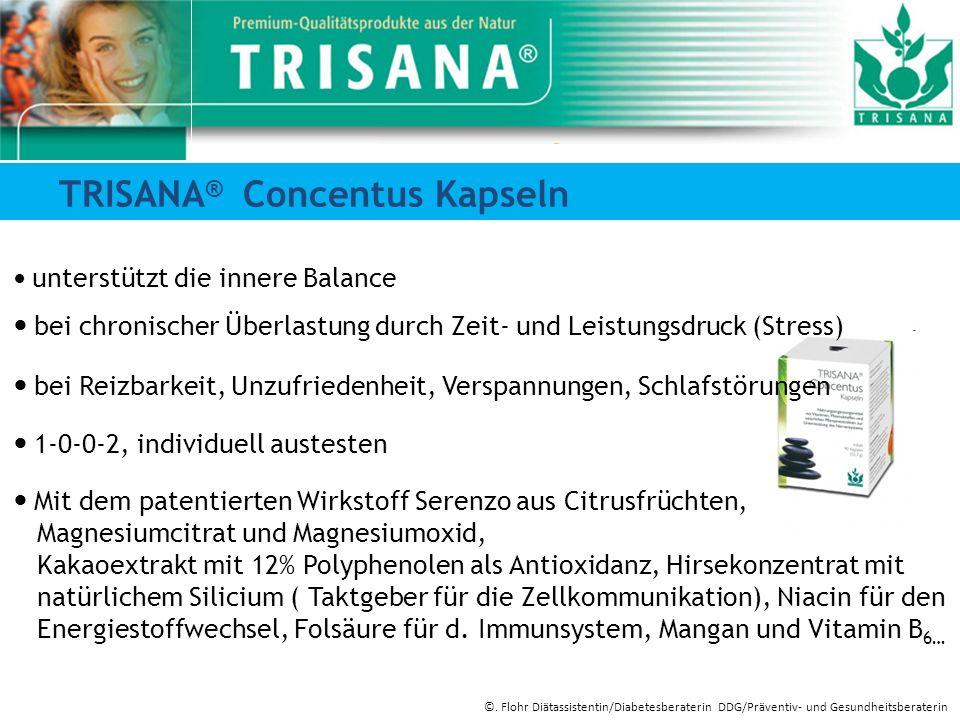 TRISANA ® Concentus Kapseln unterstützt die innere Balance bei chronischer Überlastung durch Zeit- und Leistungsdruck (Stress) bei Reizbarkeit, Unzufr