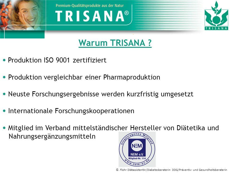 Warum TRISANA ? Produktion ISO 9001 zertifiziert Produktion vergleichbar einer Pharmaproduktion Neuste Forschungsergebnisse werden kurzfristig umgeset