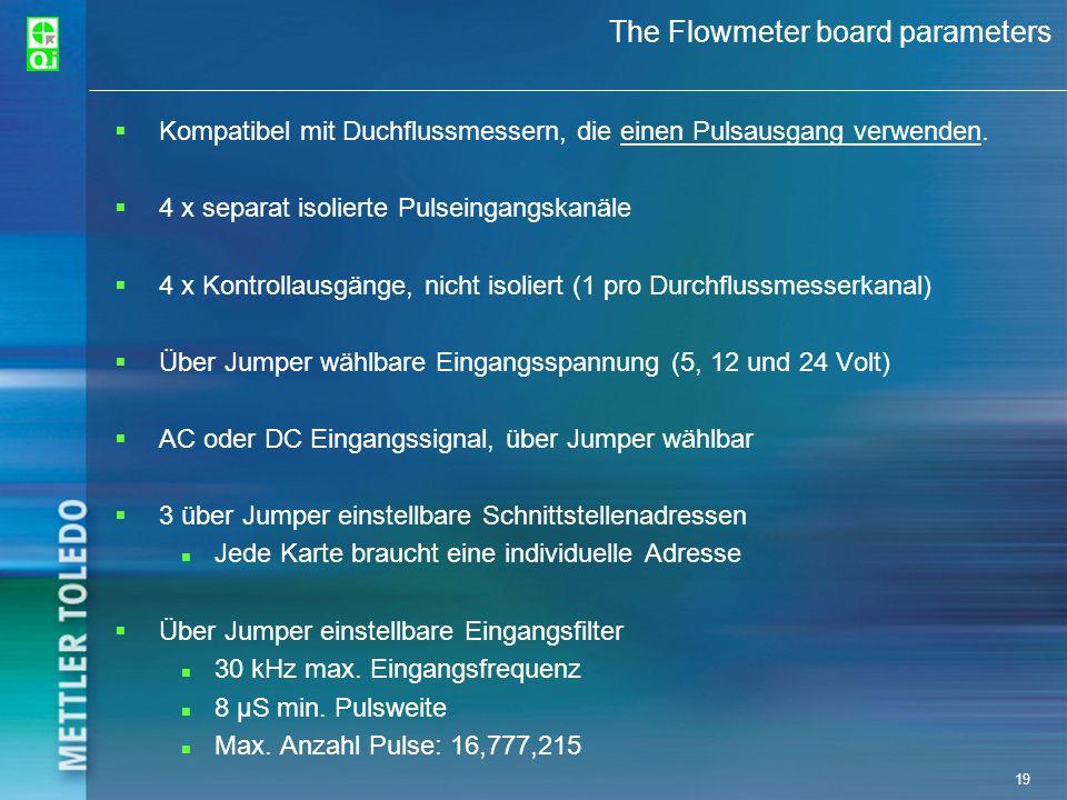 19 The Flowmeter board parameters Kompatibel mit Duchflussmessern, die einen Pulsausgang verwenden. 4 x separat isolierte Pulseingangskanäle 4 x Kontr