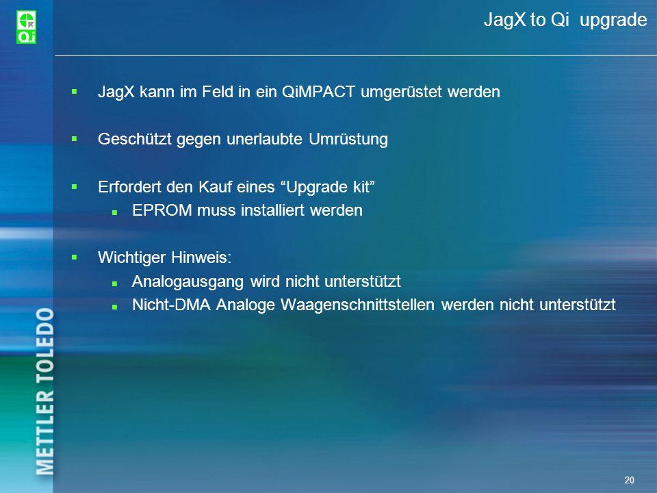 20 JagX to Qi upgrade JagX kann im Feld in ein QiMPACT umgerüstet werden Geschützt gegen unerlaubte Umrüstung Erfordert den Kauf eines Upgrade kit EPR