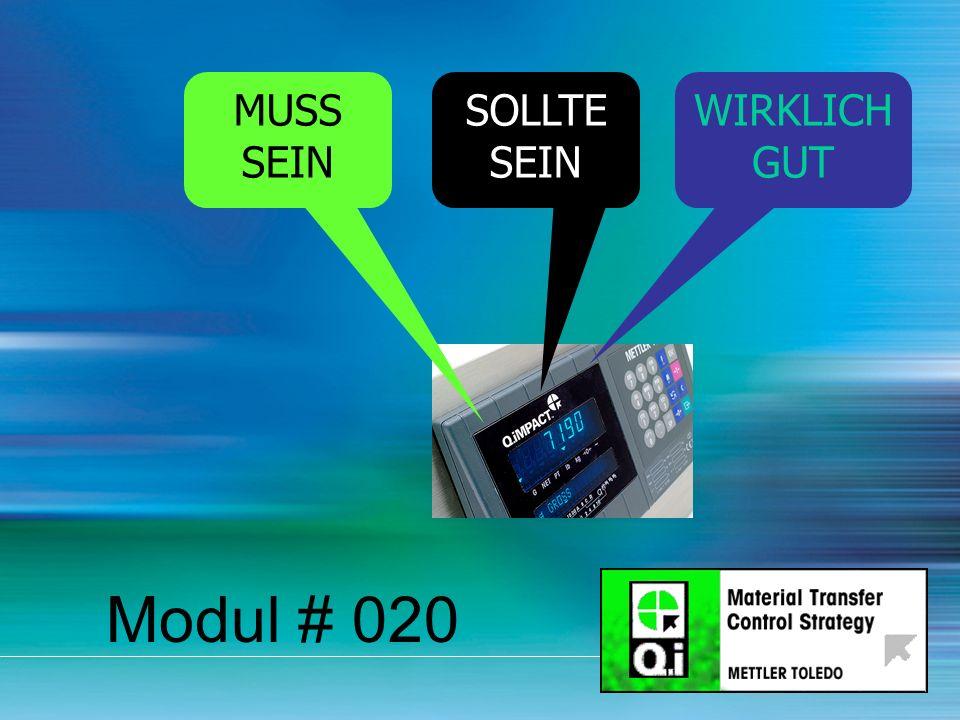 21 Modul # 020 MUSS SEIN SOLLTE SEIN WIRKLICH GUT