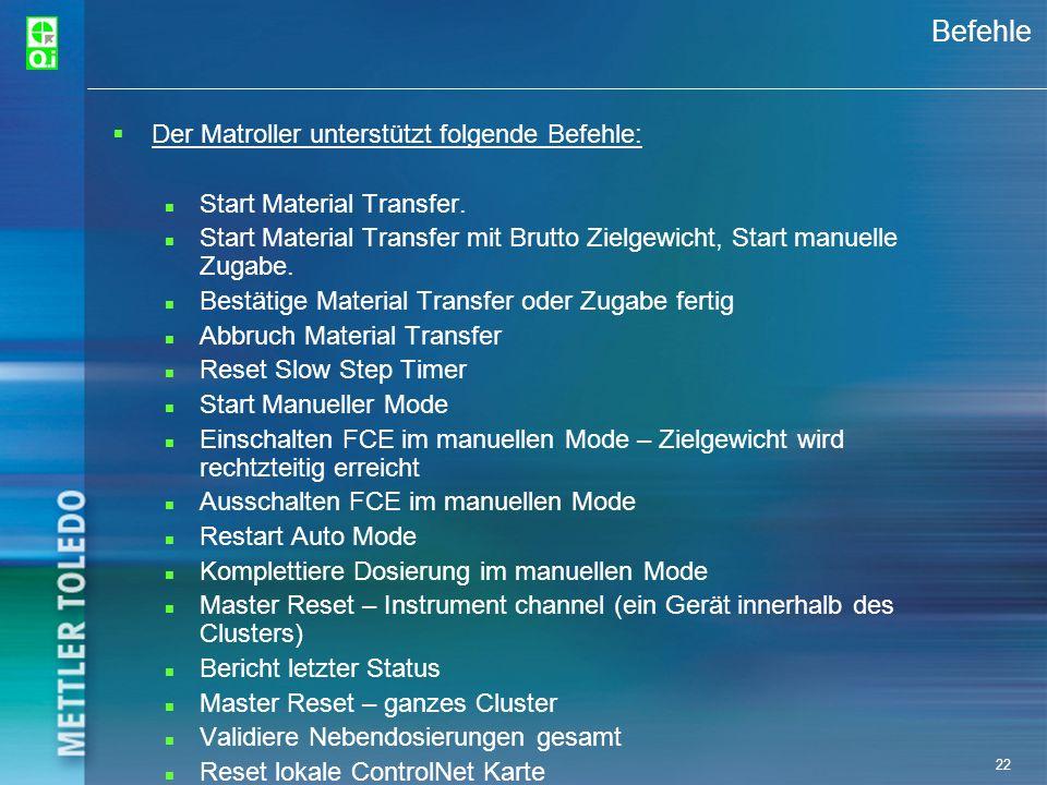 22 Befehle Der Matroller unterstützt folgende Befehle: Start Material Transfer. Start Material Transfer mit Brutto Zielgewicht, Start manuelle Zugabe.