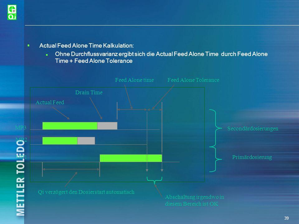 39 Actual Feed Alone Time Kalkulation: Ohne Durchflussvarianz ergibt sich die Actual Feed Alone Time durch Feed Alone Time + Feed Alone Tolerance MP3