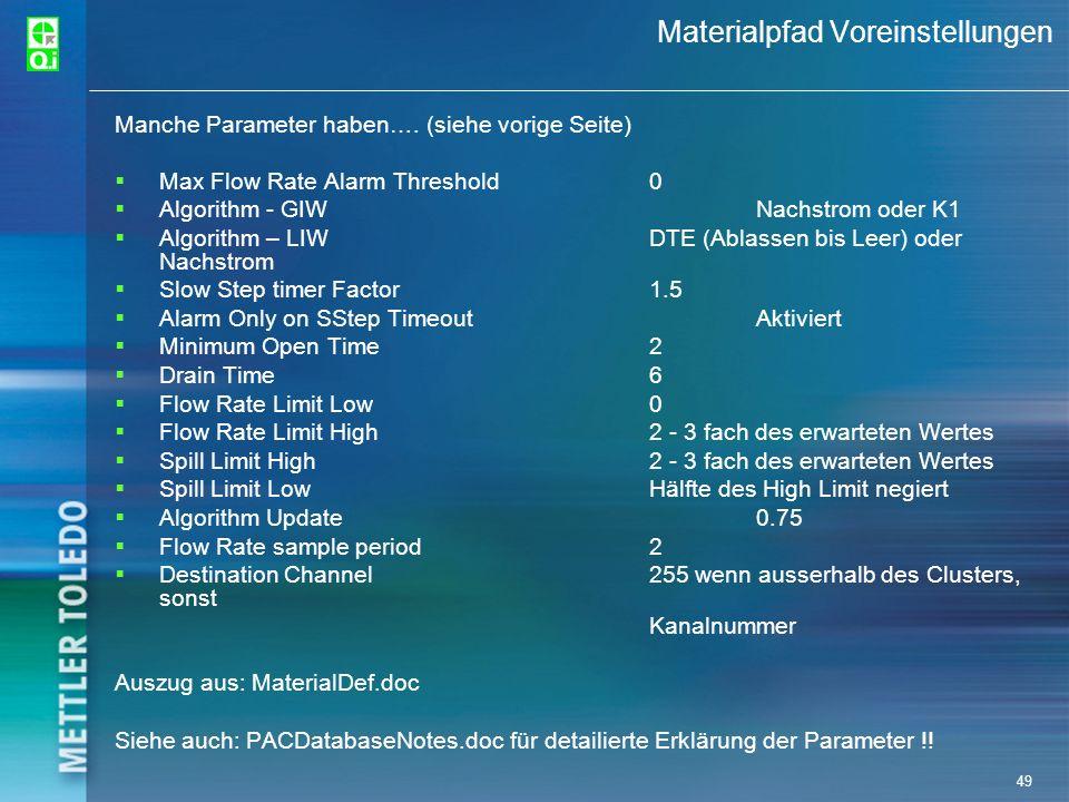 49 Materialpfad Voreinstellungen Manche Parameter haben…. (siehe vorige Seite) Max Flow Rate Alarm Threshold0 Algorithm - GIWNachstrom oder K1 Algorit