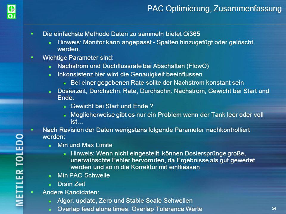 54 PAC Optimierung, Zusammenfassung Die einfachste Methode Daten zu sammeln bietet Qi365 Hinweis: Monitor kann angepasst - Spalten hinzugefügt oder ge