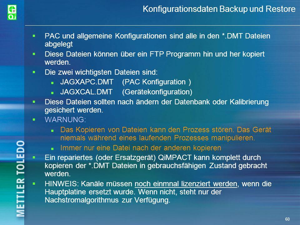60 Konfigurationsdaten Backup und Restore PAC und allgemeine Konfigurationen sind alle in den *.DMT Dateien abgelegt Diese Dateien können über ein FTP