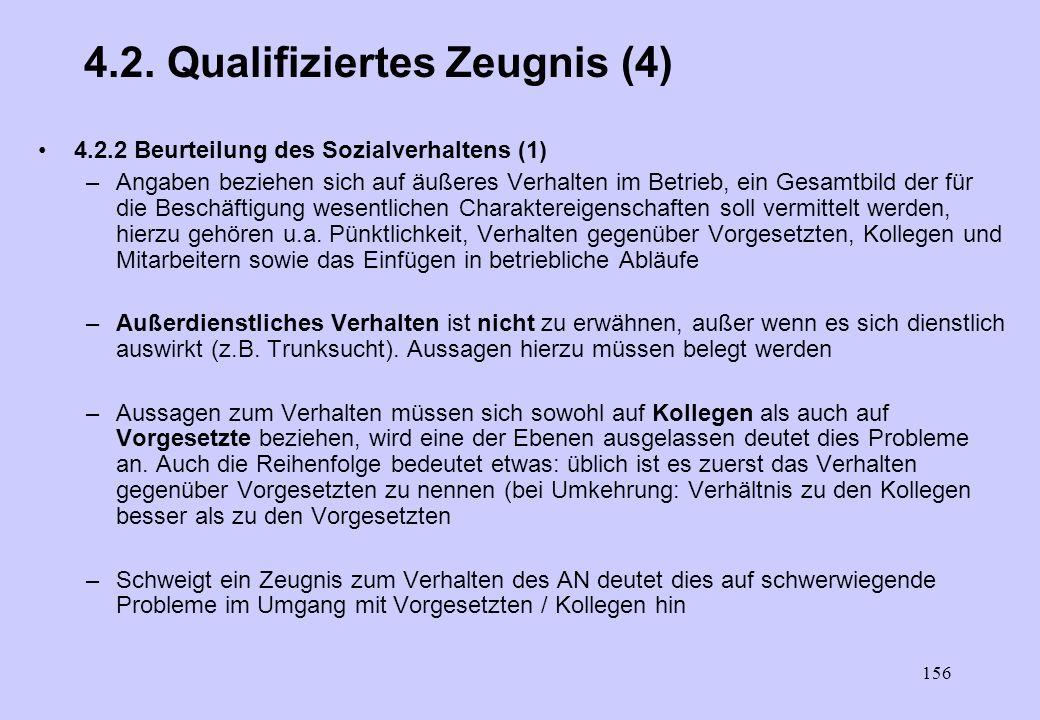 155 4.2. Qualifiziertes Zeugnis (4) 4.2.1 Beurteilung der Leistung (2) –Folgende Skala hat sich allgemein eingebürgert Sie / Er hat die ihr / ihm über