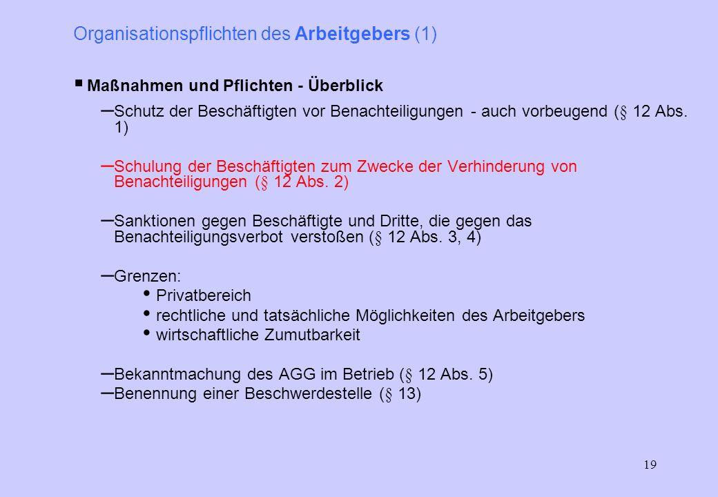 18 Allgemeines Gleichbehandlungsgesetz (AGG) Vorsicht!!