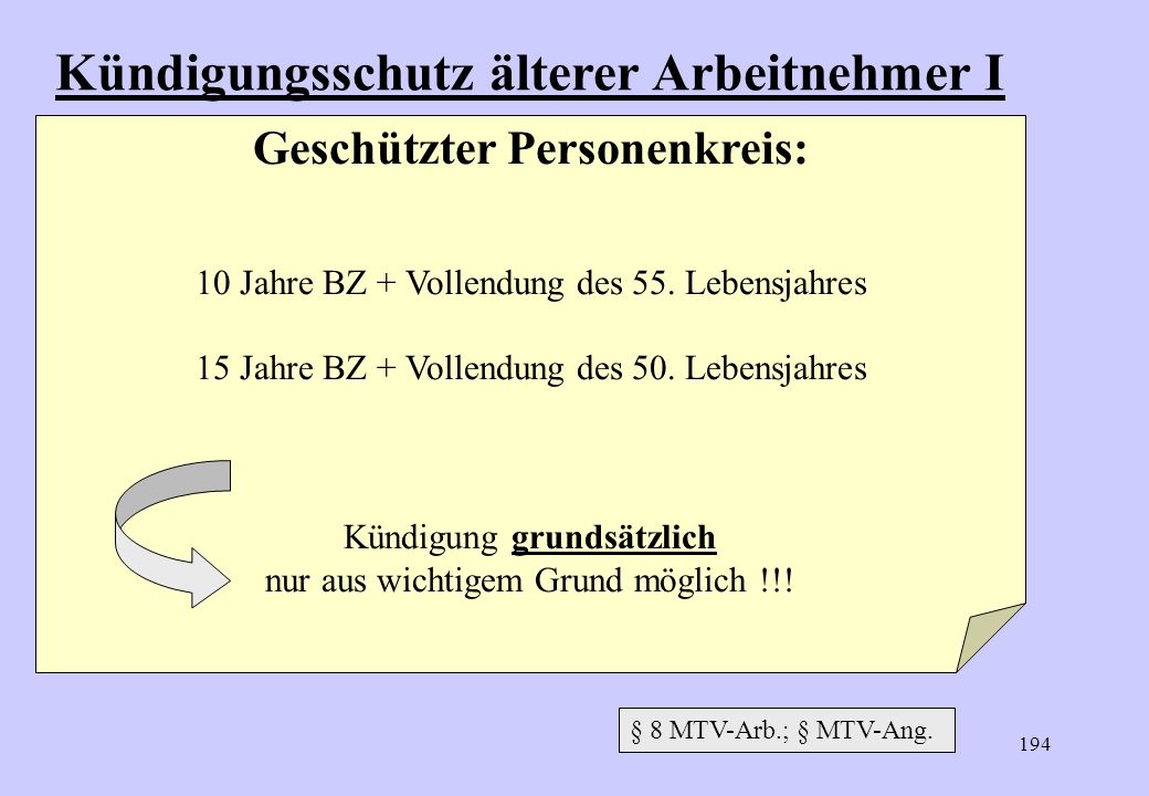 193 Verlängerter Kündigungsfristen (= 622 II BGB) einseitig Arbeitgeber BZ (ab 25. Lebensjahr) 5 Jahre 8 Jahre 10 Jahre 12 Jahre 15 Jahre 20 Jahre Kün