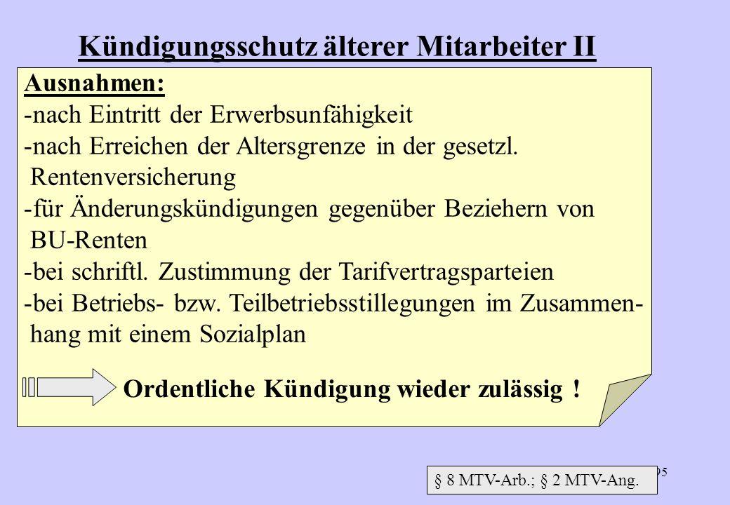 194 Kündigungsschutz älterer Arbeitnehmer I Geschützter Personenkreis: 10 Jahre BZ + Vollendung des 55. Lebensjahres 15 Jahre BZ + Vollendung des 50.