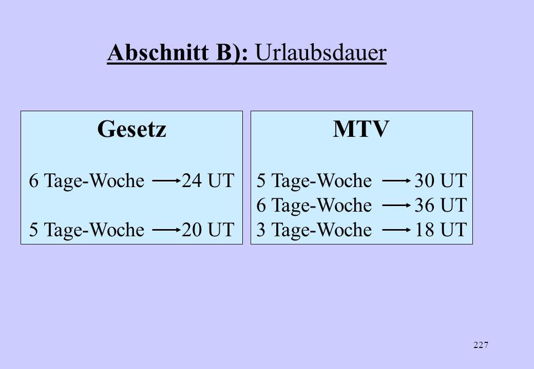 226 Abschnitt B): Urlaubsdauer 30 Tage Ziff. 1 Ziff. 2 Abhängigkeit von Verteilung der IRWAZ auf die Arbeitstage/KW Umrechnung bei Abweichen von 5-Tag
