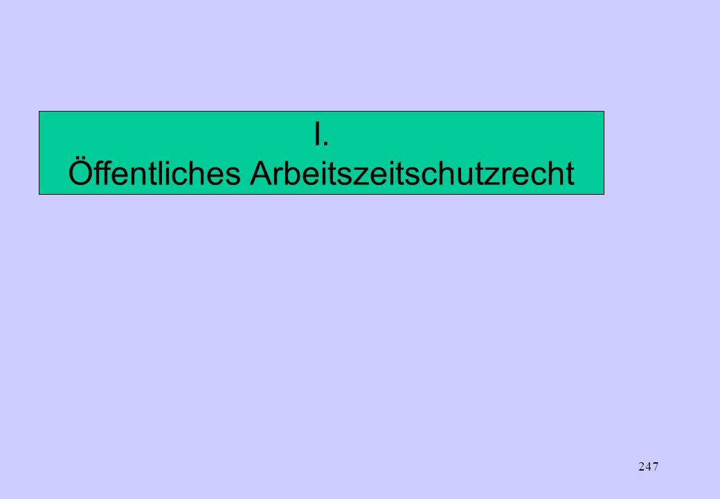 246 Begriffliche Differenzierungen der A r b e i t s z e i t Öffentliches Arbeitszeitschutzgesetz (§ 2 ArbZG) Zeit zwischen Beginn und Ende der Arbeit