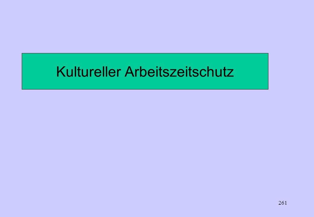 260 Regelruhezeit: 11 Stunden (ununterbrochen) nach Arbeitsende Individueller Werktag wird durch ArbZG nicht ausgeschlossen Verkürzung der Regelruheze