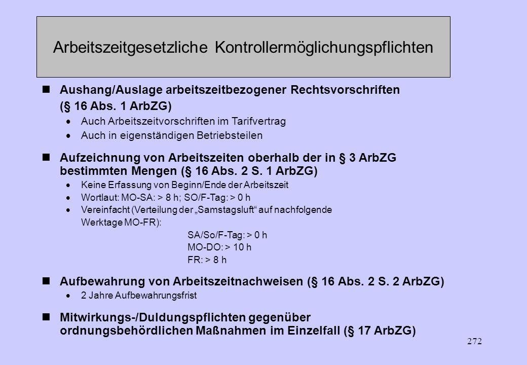 271 Kontrollermöglichungspflichten des Arbeitgebers