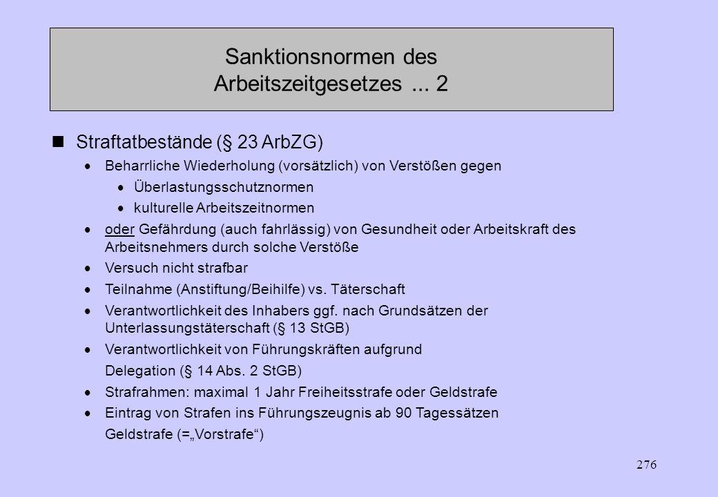275 Bußgeldtatbestände (=Ordnungswidrigkeiten, § 22 ArbZG) Verstöße gegen Überlastungsschutznormen Kulturelle Arbeitszeitnormen Kontrollermöglichungsp