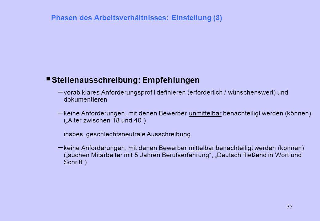 34 Phasen des Arbeitsverhältnisses: Einstellung (2) Stellenausschreibung (§ 11): – Beachtung des Benachteiligungsverbots bei der Stellenausschreibung