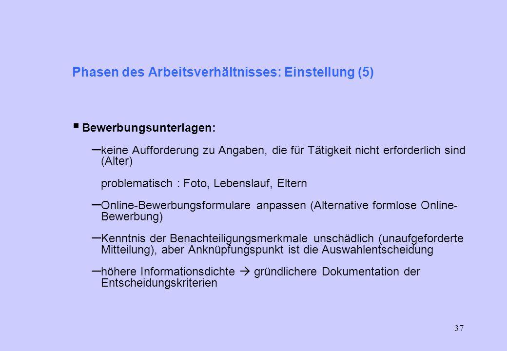 36 Phasen des Arbeitsverhältnisses: Einstellung (4) Stellenausschreibung: Empfehlungen – Stellenausschreibungen hinsichtlich Anforderungen allgemein f