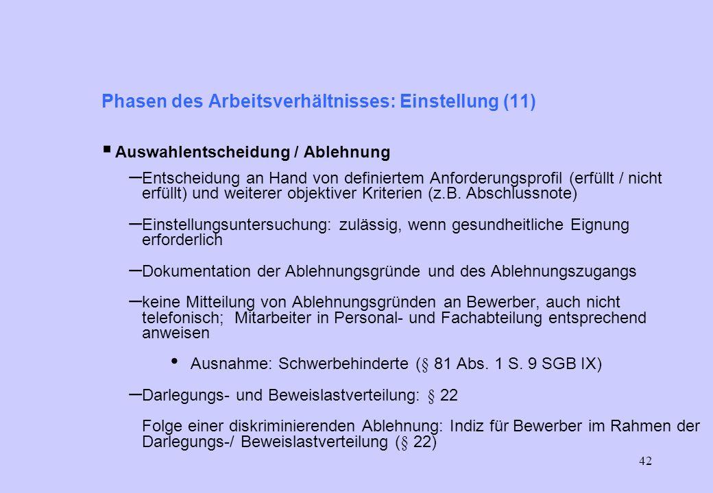 41 Phasen des Arbeitsverhältnisses: Einstellung (9) Umgang mit Bewerbungsunterlagen – Alternative 3 (weniger sicher, weniger aufwändig) schriftliche D