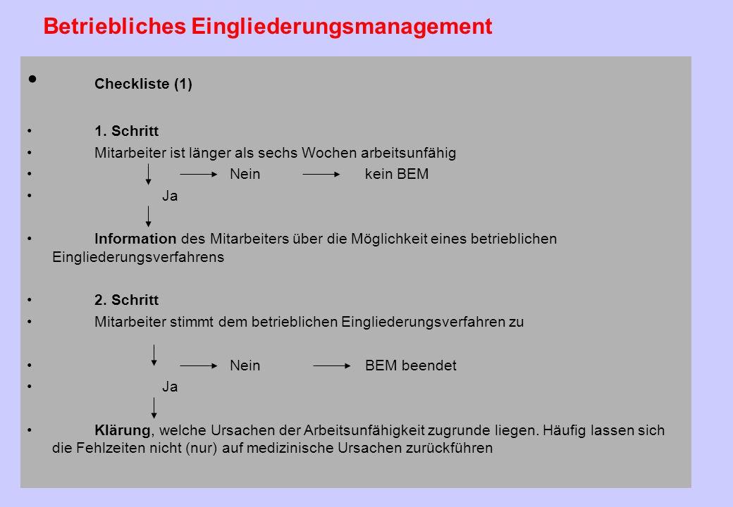 63 Ziele Die Ziele des betrieblichen Eingliederungsmanagements (BEM) ergeben sich aus dem Wortlaut der Vorschrift: es geht dem Gesetzgeber darum, eine