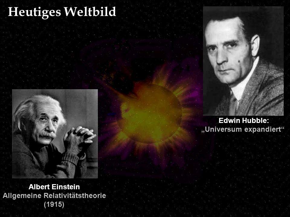 Albert Einstein Allgemeine Relativitätstheorie (1915) Edwin Hubble: Universum expandiert Heutiges Weltbild