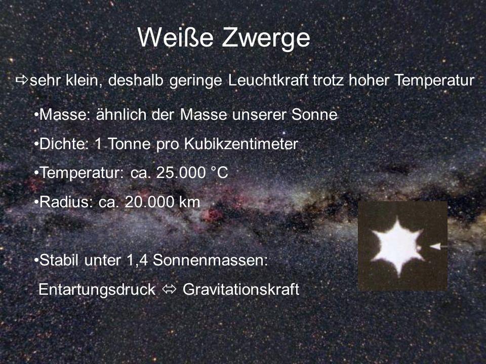 Weiße Zwerge sehr klein, deshalb geringe Leuchtkraft trotz hoher Temperatur Masse: ähnlich der Masse unserer Sonne Dichte: 1 Tonne pro Kubikzentimeter