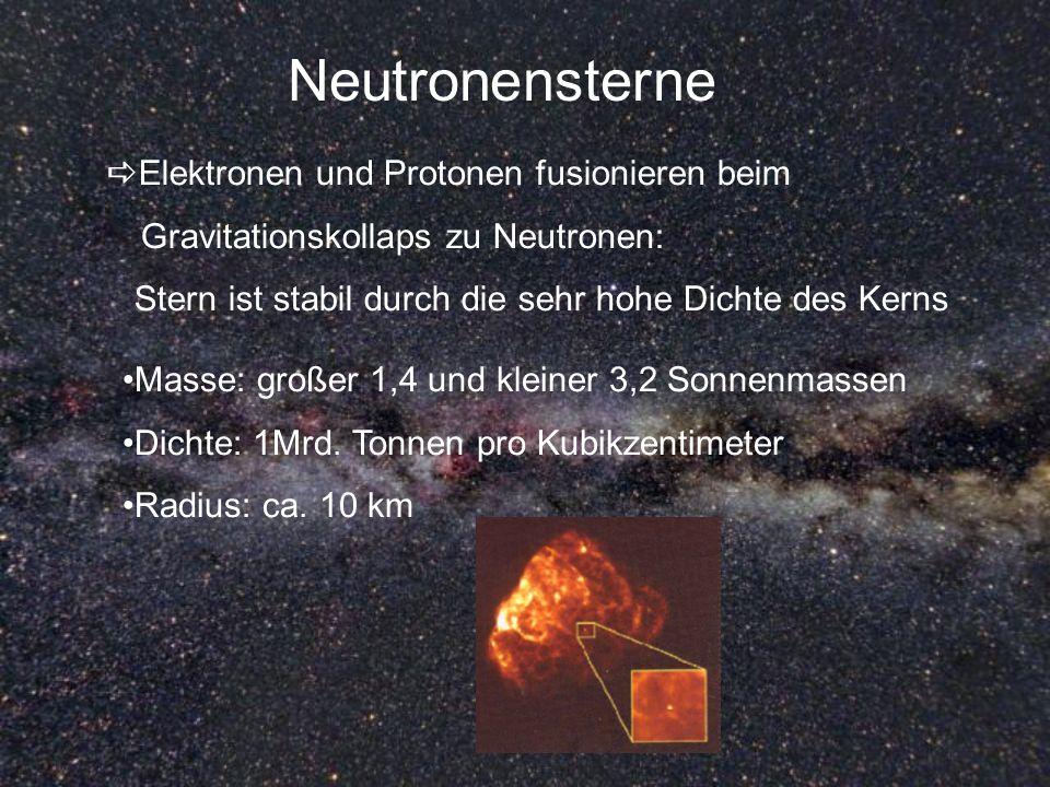 Neutronensterne Elektronen und Protonen fusionieren beim Gravitationskollaps zu Neutronen: Stern ist stabil durch die sehr hohe Dichte des Kerns Masse
