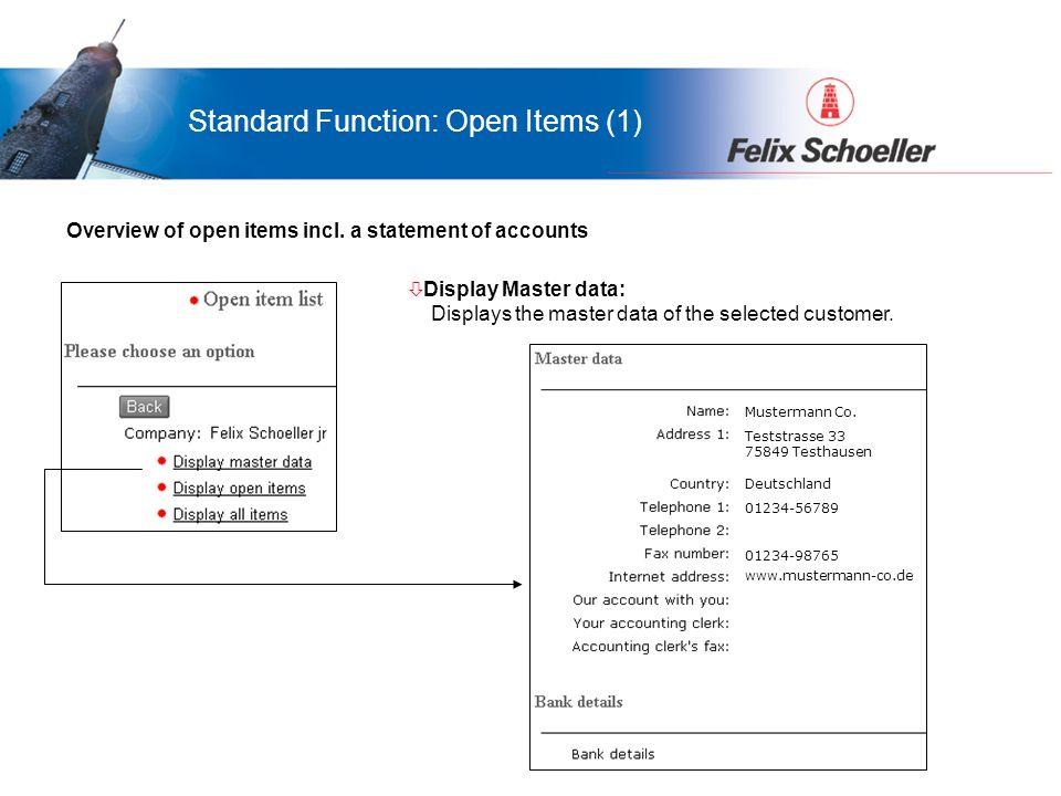 Vorteile für LamiGraf...was bringt das Portal Ihnen... Overview of open items incl. a statement of accounts ò Display Master data: Displays the master